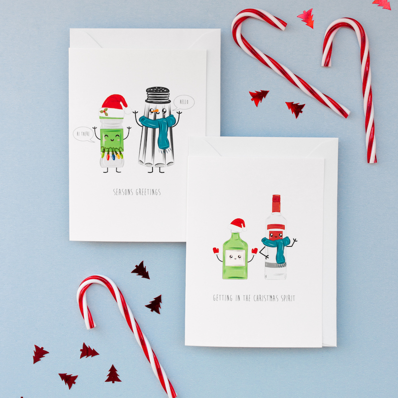 Matching seasons greetings & Christmas spirits.