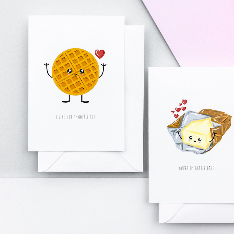 Two comical greeting cards with a illustrations of a waffle and an open pack of butter. Both illustrations have been given a cartoon stylr face and arms.