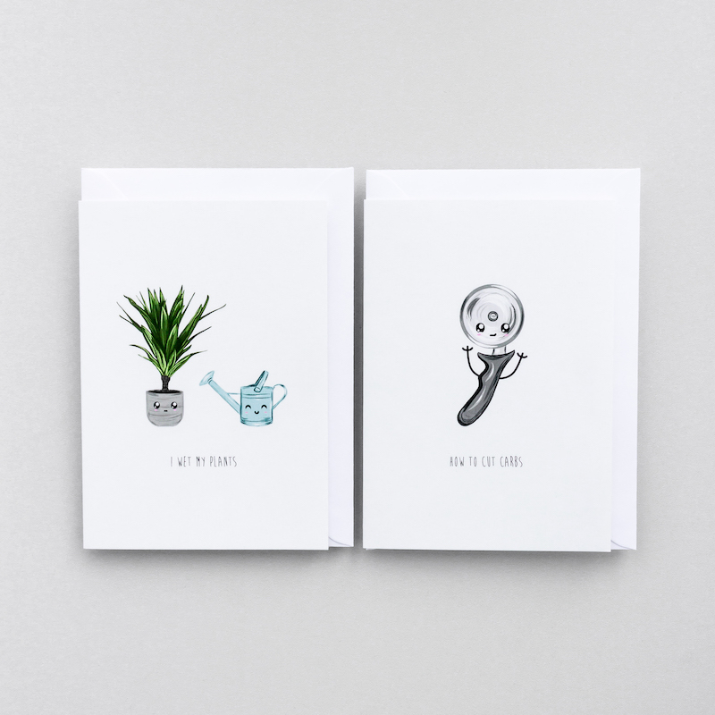 Several funny greeting cards depicting several objects such as a watering can, potted plant and doughnuts, all with a cartoon style face. Used as a link to the just because cards page.