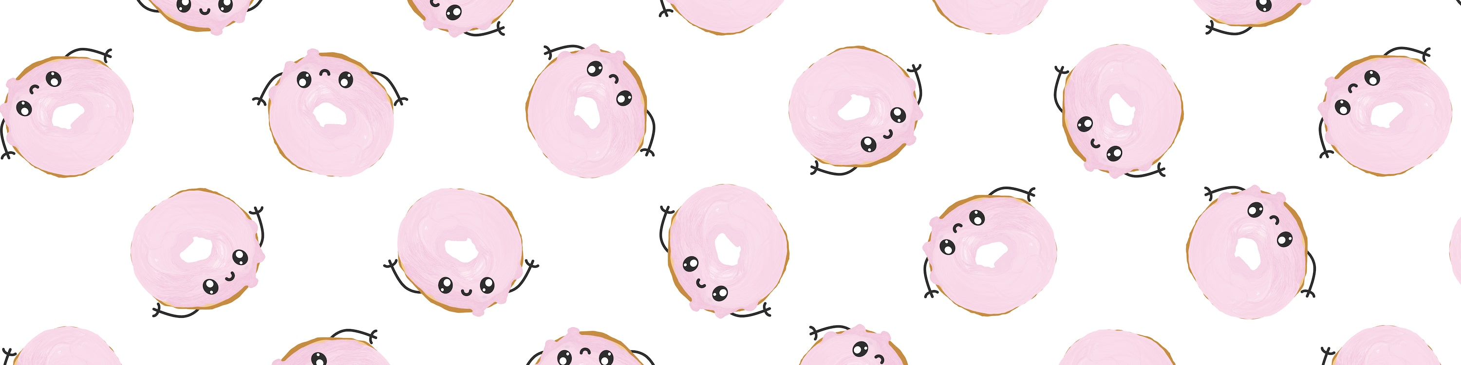 Repeating Patteern of Pink Dougnut Card Illustration
